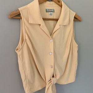 Tommy Bahama silk peach cropped button down tank